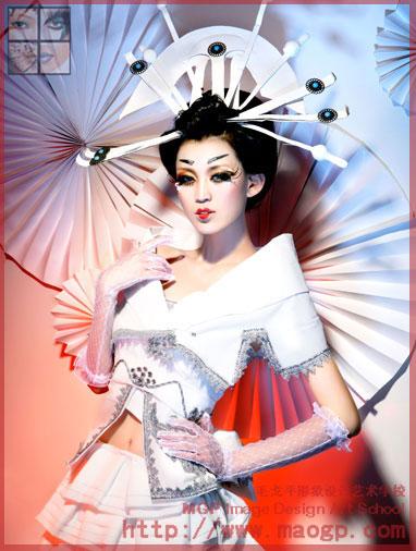 日本艺妓化妆手绘图
