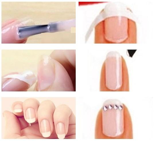 STEP1:洗掉原有的残留指甲油,修好指甲,去掉死皮,然后洗净双手。   STEP2:选择透明粉指甲油,作为指甲的底色,涂满整个甲面。晾干,等待完全干透。   STEP3:将法式贴纸剪成半月型的形状,然后贴上指甲盖的前段。   STEP4:在指尖涂抹白色指甲油。有了法式贴纸,就不会弄脏后半段指甲面。   STEP5:等白色指甲油完全干透以后,撕下法式贴纸,涂上一层亮甲油就完成了。   STEP6:如果还想要更加华丽的造型,可以在月牙形白色指甲油下方缀上水钻。   是不是非常简单呢,赶紧自己动手试一试