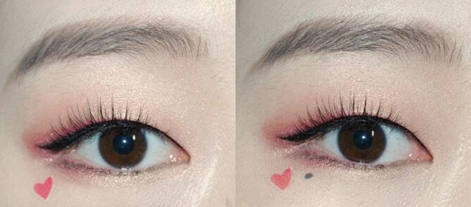 step  :最后在一只眼睛的眼尾下方画一个小小的红色爱心和黑色的小