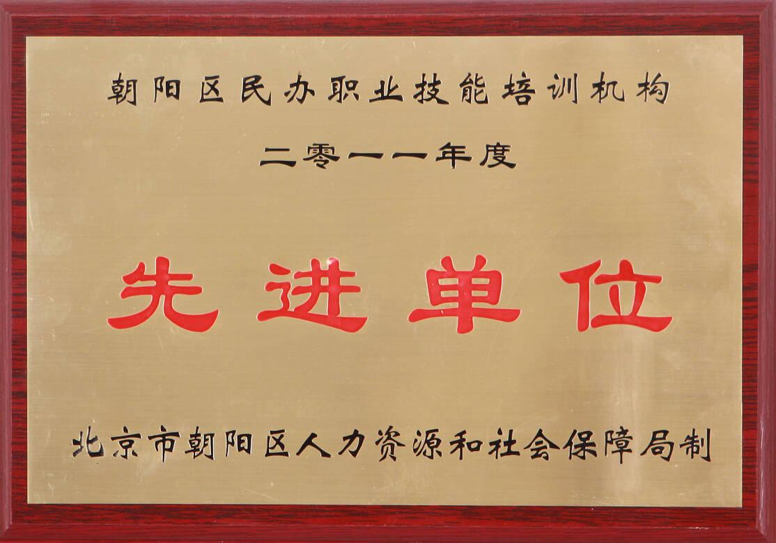 2011年度朝阳区民办职业技能培训机构先进单位